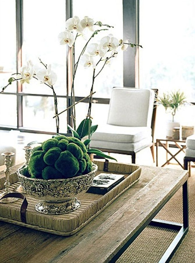 FRANKIE HEARTS FASHION: Coffee Table Styling | you can't miss with an orchid, a tray and a beautiful bowl filled with greens!