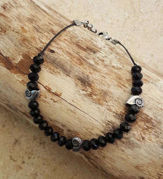 Zwarte Anklet  zwarte Ankle Bracelet  Beaded Anklet