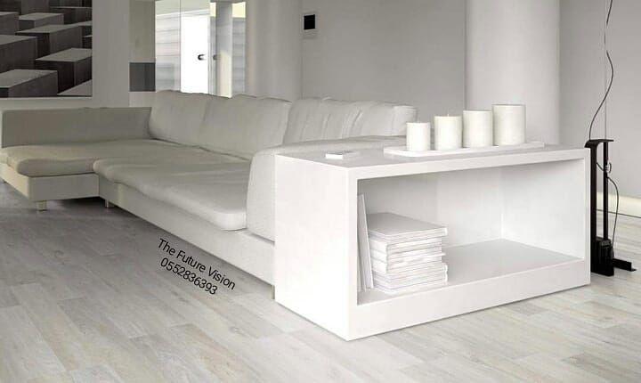 تخصصاتنا وأعمالنا ديكورات خشبية ارضيات باركيه صناعي طبيعي داخلي خارجي ورق جدران Grey Laminate Flooring Living Room Living Room Furntiure Modern White Sofa