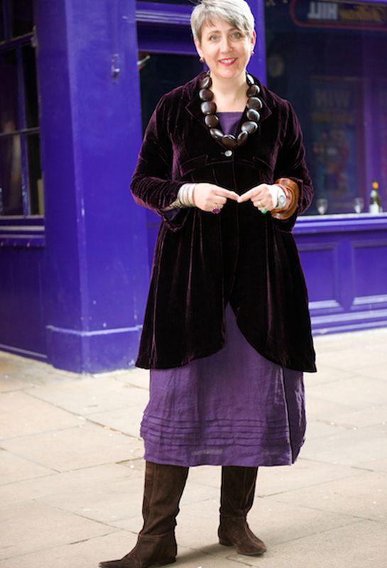 ... Long Scoop Jacket in velvet over a Tasman dress in linen ...