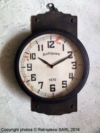 Horloge murale métal 1870, déco brocante, Chehoma