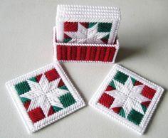 Coasters, Snowflakes Patchwork Coasters, Plastic Canvas Coasters, Christmas Coasters,  Coasters Holder.