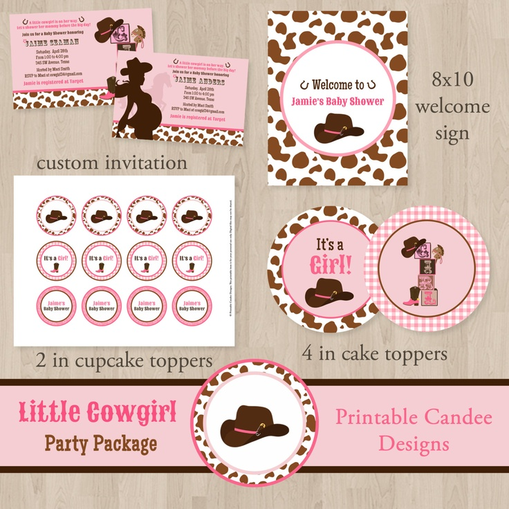 Little Cowgirl Baby Shower Cupcake Toppers