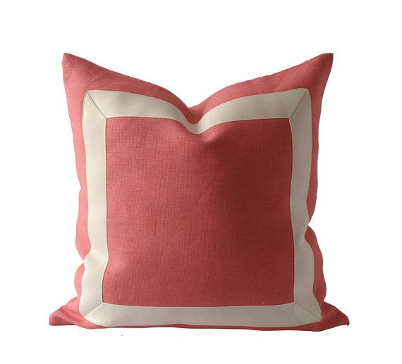 20x20 Coral Pink Linen Pillow Cover with Off White Grosgrain Ribbon- Decorative Throw Pillow Cover - Cushion Cover 51x51 cm