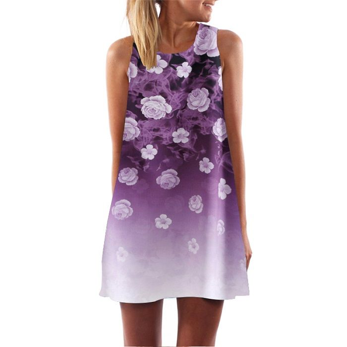 New Women 2017 Rose Printed Neck Mini Club Floral Dress Elegant Evening Party Dresses Chiffon Sleeveless Casual WAIBO BEAR Who like it ? Visit us