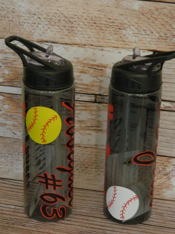 Flip Top Water Bottles w/Straw - 24oz BPA Free - Shatter Resistant - Softball/Baseball Theme Sports Bottle