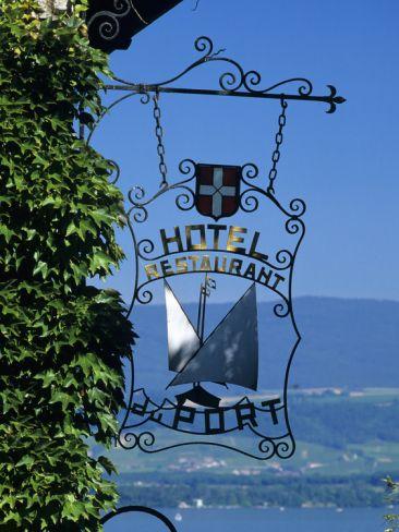 Hotel Sign, Yvoire, Lake Geneva, Rhone Alpes, France, Europe