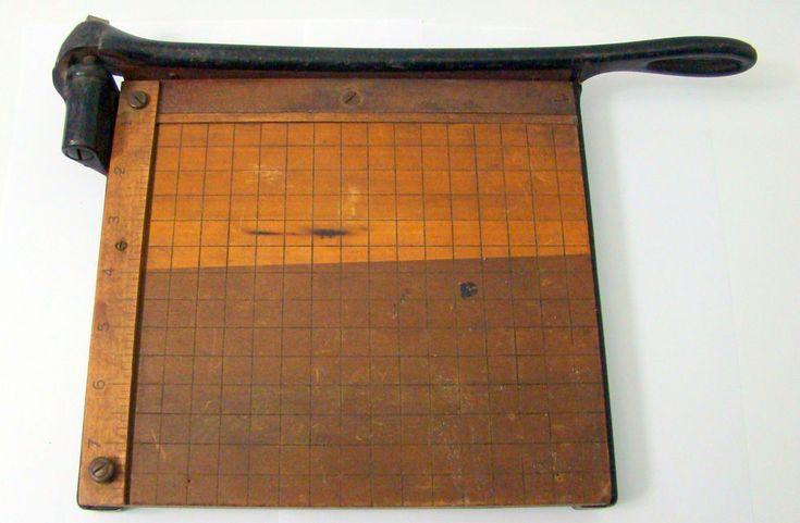 Vtg Eastman Kodak Guillotine Paper Cutter Trimmer Photography Iron Wood Grid  #Kodak
