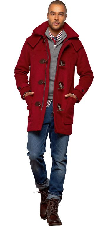Cranberry Red Wool Toggle Coat, Grey Sweater, Gingham Shirt, and Hiking Boots. Men's Fall Winter Fashion.