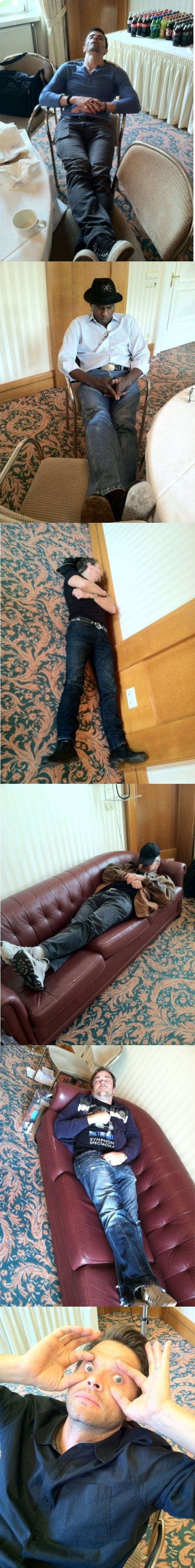 """The sleeping cast. Meanwhile Misha... Sorry, I'm getting through """"Meanwhile Misha"""" phase. This man is awkward as hell."""