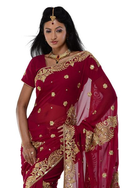 Red Party-wear Sari | Saris and Things