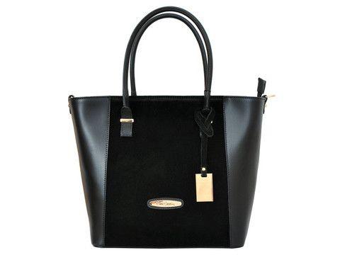 Black Pierre Cardin genuine leather tote | SoLime