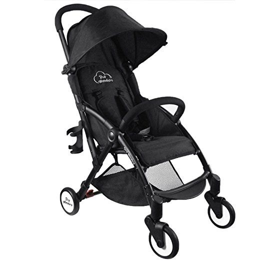 Amazon.com : Black Deluxe Dual-Brake Single Baby Stroller, Portable Light Weight Travel Pram, Large Water Resistant Umbrella Canopy For Infant Toddler, Boys, Girls Unisex 3 Month, 1, 2 Year Old and UP : Baby