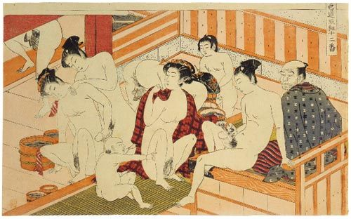 Shunga -meaning 'the spring pictures' this leaf is from an erotic hand painted picture book circa 1850.