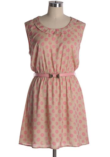 Tan casual dress with large pink polka dots and a removable belt. Elastic waist. 60% cotton, 40% polyester Not stretchy Not lined Indie, Retro, Party, Vintage, Plus Size, Convertible, Cocktail Dresses in Canada Polka Delight Dress -