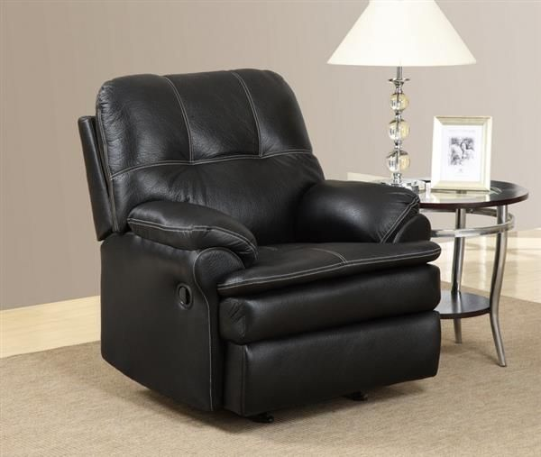 Black Leather Rocker Recliner Chair W/Tufted Back