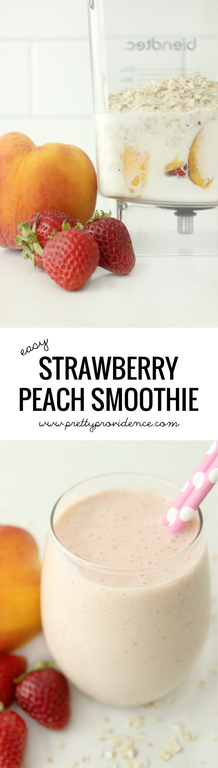 Seriously this is my favorite smoothie of all time! Thick, easy and oh so delicious! You'll definitely want to add this strawberry peach smoothie to your rotation!