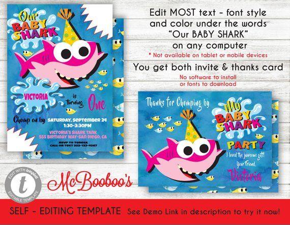 Girl Baby Shark Birthday Party Invitation Template Printable Invite In Shark Birthday Invitations Shark Birthday Party Invitation Shark Themed Birthday Party
