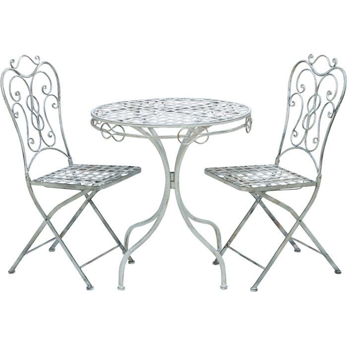 metal table with two matching 1 table and 2 material metalcolor scrollwork