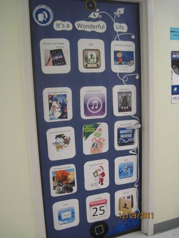 Cell Phone Display Door Christmas Door Decorating