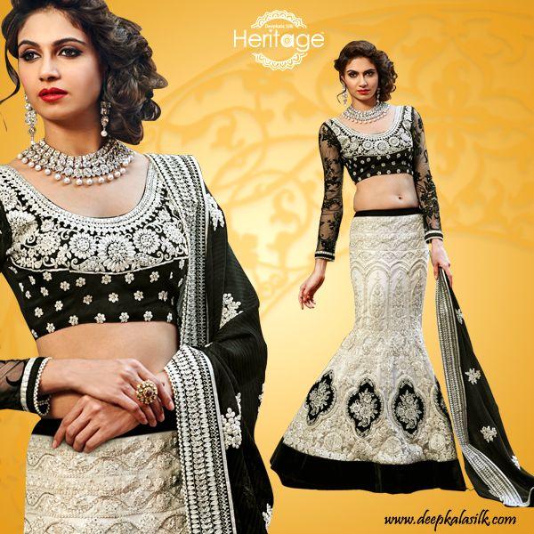 Off White And Black #Embroidered Net #LehengaCholi
