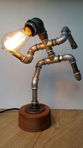 Iron pipe lamp - The Running Man