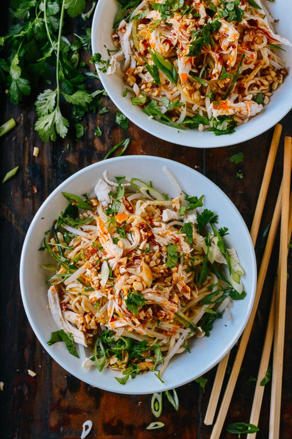 Cold noodles are the perfect food for summer. Light, refreshing, and easy to make, this recipe includes shredded poached chicken and a very flavorful sauce.