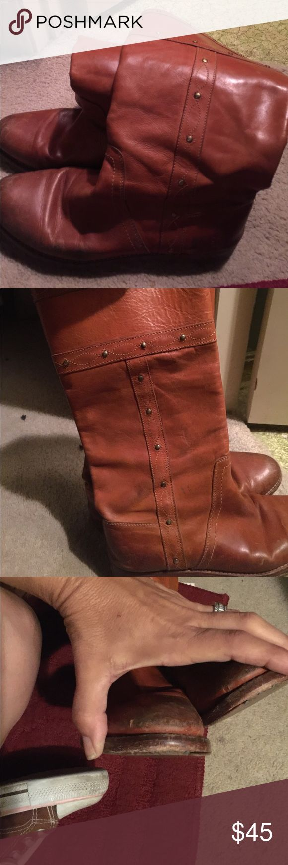 Sale price for 4th of July sale well loved vintage Frye riding boots...these are so cute!! Some worn places (as seen in pictures) but still have a lot of life!! Worn mainly in 90's. My calves are bigger now so they're tighter. My loss your gain Frye Shoes