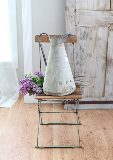 French zinc pitcher  Dining room. White, Grey, Black, Chippy, Shabby Chic, Whitewashed, Cottage, French Country, Rustic, Swedish decor Idea. ***Pinned by oldattic ***