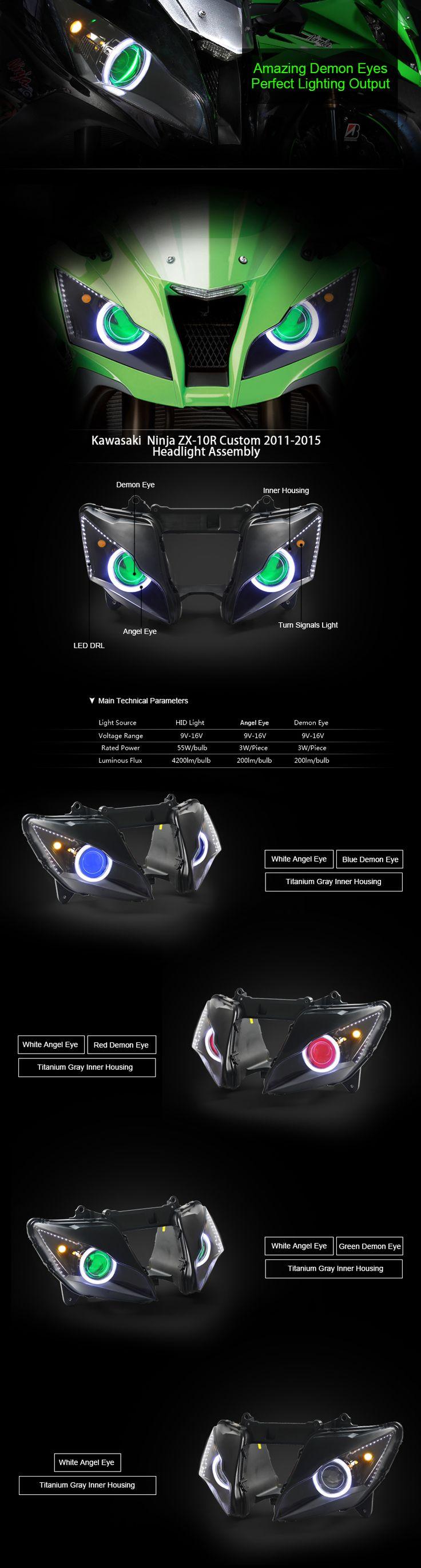 Kawasaki ninja zx 10r hid led headlight assembly 2011 2015