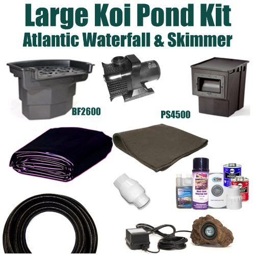 20 x 25 large koi pond kit 5 200 gph pump atlantic big for Pond waterfall kit