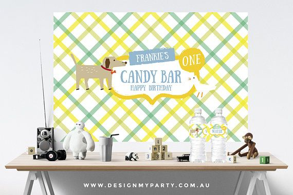 Dog & Duck Backdrop Wall Banner Personalised DIY Printables