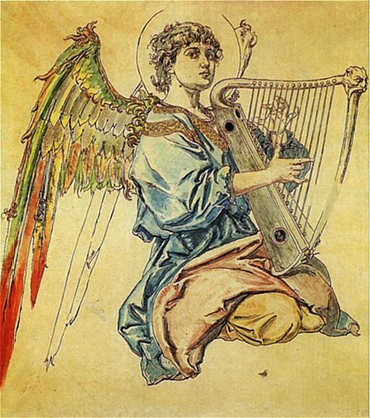 Angel with harp - Jan Matejko