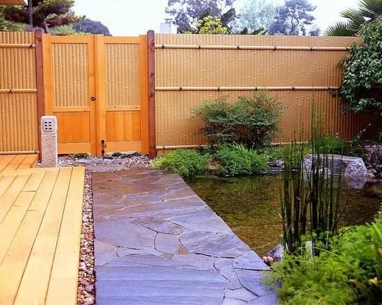 Solid bamboo garden fence