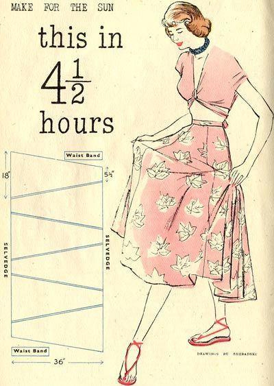 This British blog has all sorts of free vintage sewing, knitting, and crochet patterns. Many of these could be altered to be zero-waist. Such clear instructions. :):