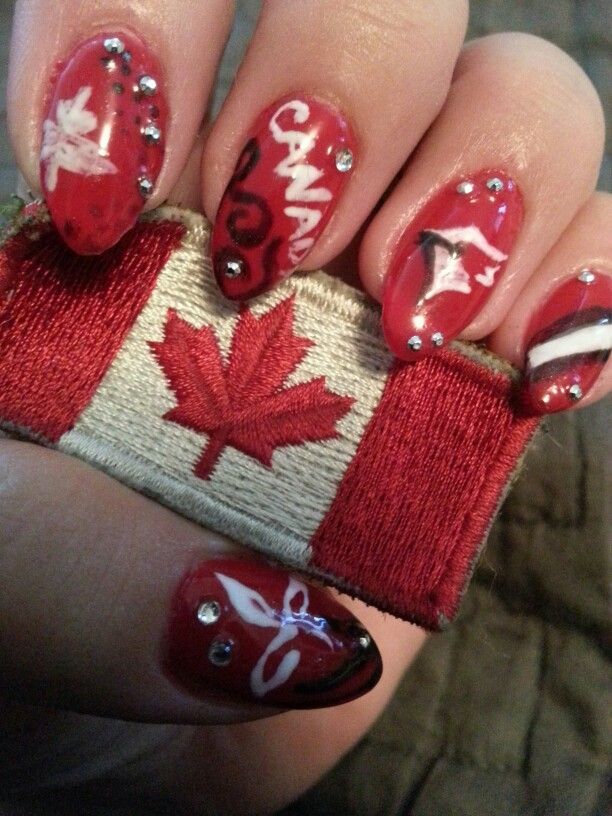 Canada day nails not cleaned up!