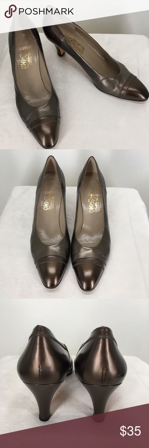 """Salvatore Ferragamo Italian Two Tone Heels Two tone copper pumps with oxford like detail on front and heel. Inside says """"DF 38238 360 10AA"""". Made in Italy. Pre worn condition as seen in pictures, but lots of life left in these shoes!  Heel height-3"""" Size-10AA Salvatore Ferragamo Shoes Heels"""