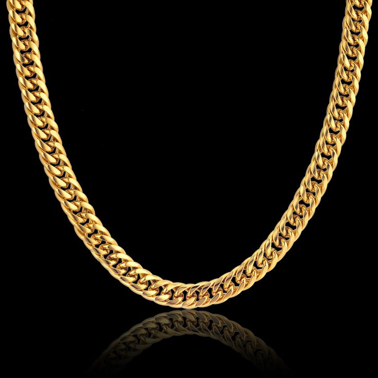 "Gold Plated Stainless Steel Collar Necklace 8MM Rock Mens Gold Chain Necklace Male Chain Necklaces 20"" 23"" 26"" 28"" Collares"