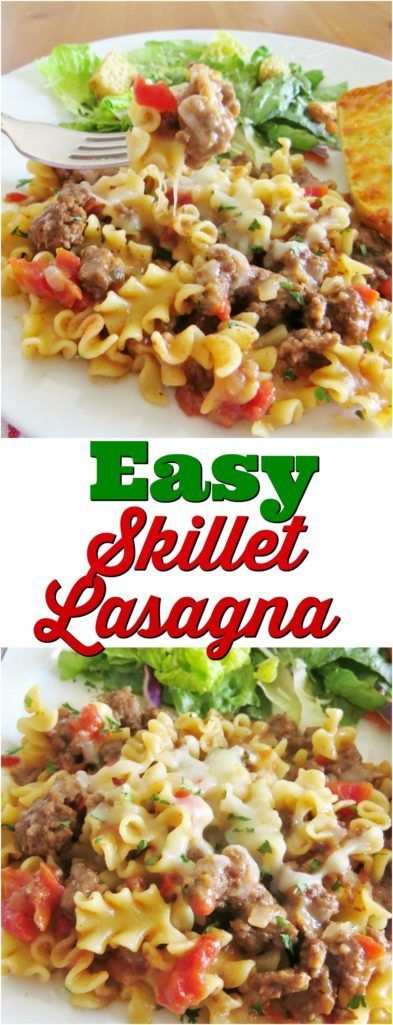 Easy Skillet Lasagna recipe from The Country Cook #groundbeef #recipes #ideas #dinner #easy #pasta