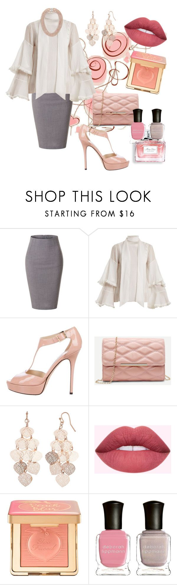"""ladys fashions"" by creativegirl247 ❤ liked on Polyvore featuring LE3NO, Chloé, Jimmy Choo, Christian Dior, LC Lauren Conrad, Too Faced Cosmetics and Deborah Lippmann"