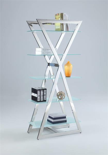 Glass Stainless Steel 5 Shelves Bookshelf