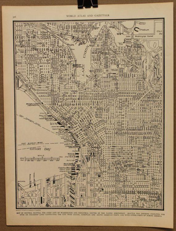 Vintage Map Seattle Original 1935