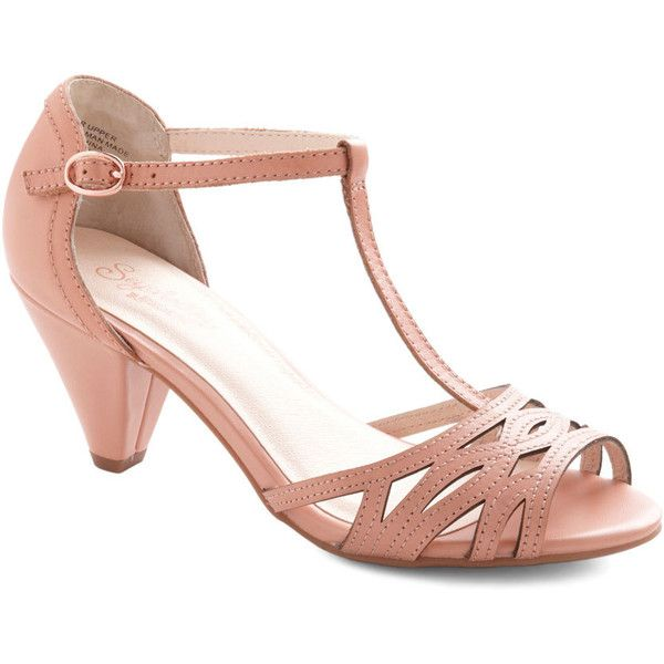 Seychelles Vintage Inspired Everybody Dance Heel ($90) ❤ liked on Polyvore featuring shoes, heels, sandals, pink bridal shoes, leather shoes, pink evening shoes, pink prom shoes and prom shoes