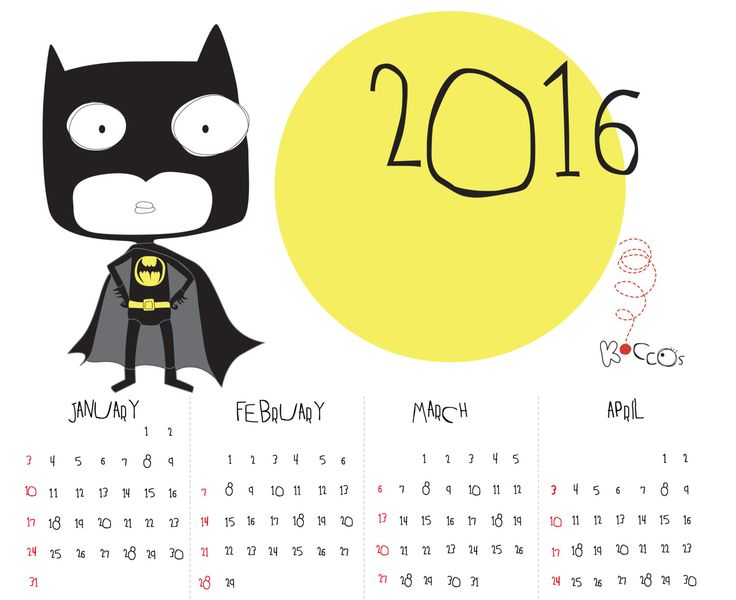 2016 Calendar | Printable Calendar, Batman Calendar, Super Hero Calendar, Year Printable Calendar, Illustrated Calendar, Instant Download by KoCcos on Etsy