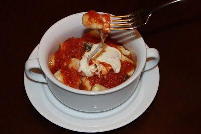 homemade potato gnocchi with simple tomato sauce and mozzarella cheese from The Garlic Press