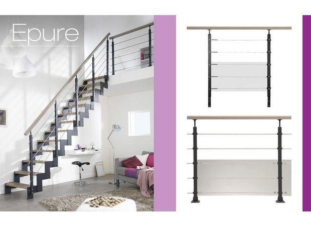 Balustrade aluminium Epure adaptée pour les escaliers en métal standard ou sur mesure.