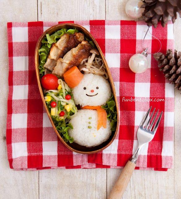 Snowman Rice Balls Bento #Chirstmas #lunch #kids #holiday #vegan