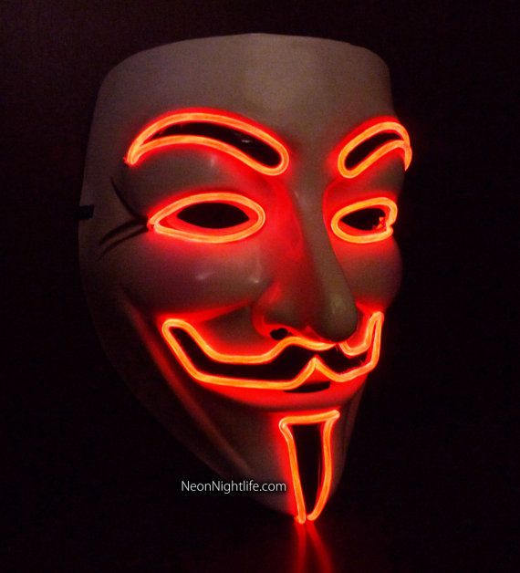 Glowing V for Vendetta, Guy Fawkes Mask, Battery Powered, Rave Wear, Glow in the Dark Masquerade, Light Up, LED on Etsy, £89.39