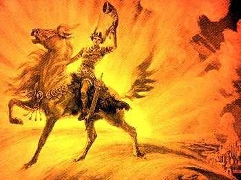 HEIMDALL - É o guardião da ponte do arco-íris que leva a Asgard, morada dos Deuses. Sua audição é tão boa que ele pode escutar a grama nascendo na Terra, ou a lã crescendo no dorso da ovelha. A simbologia da ponte do arco-íris é vasta, ela pode significar a conexão entre a matéria e o espírito, pode significar a ligação entre os homens e os Deuses, etc... É Heimdall que vai dar o sinal para os Deuses que o Ragnarok começou.