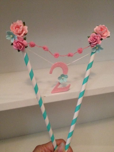 Shabby Chic Cake Bunting for Birthday Party With by JeanKnee